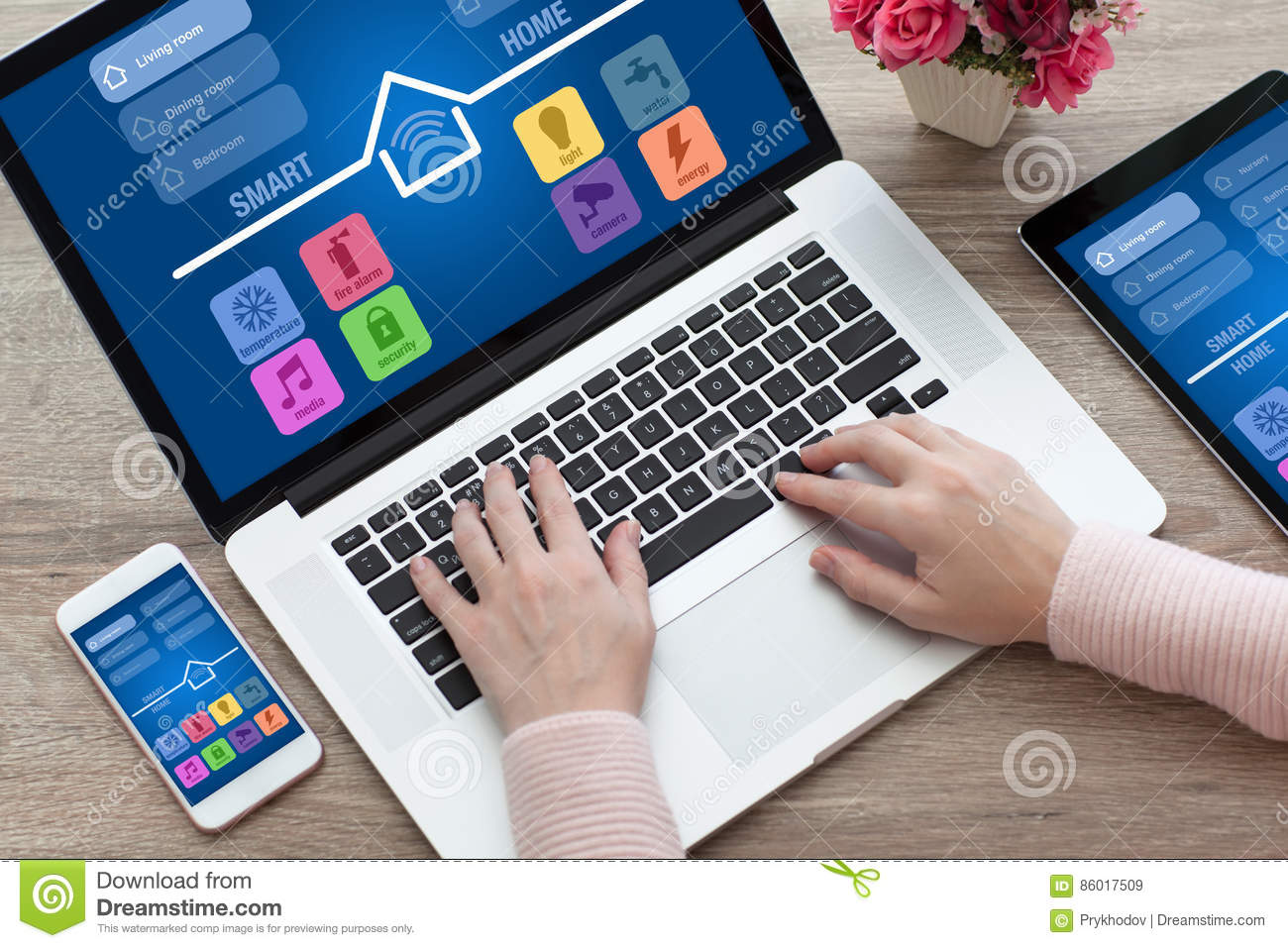 Woman hands notebook computer tablet phone app smart home