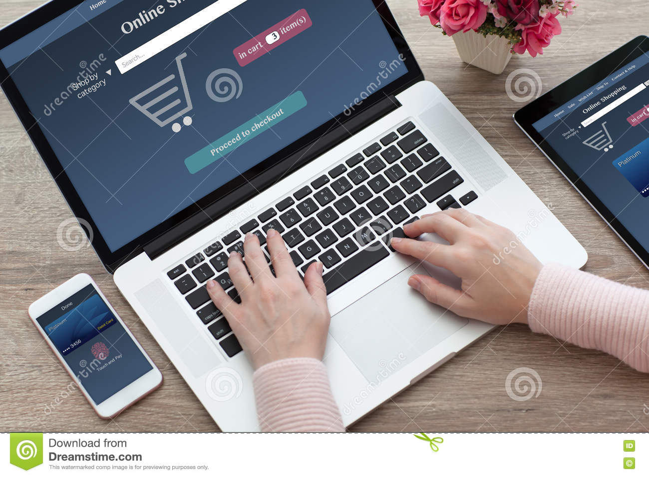 woman hands notebook and computer tablet phone online shopping stock image image of sensory. Black Bedroom Furniture Sets. Home Design Ideas