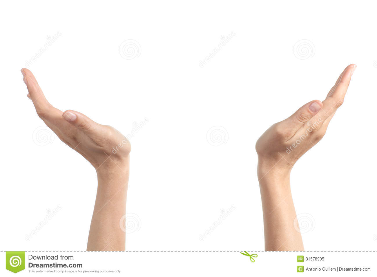 woman hands with palms up holding something royalty free stock