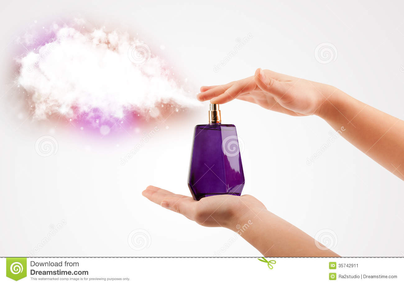 woman hands spraying colorful cloud stock image image of beauty
