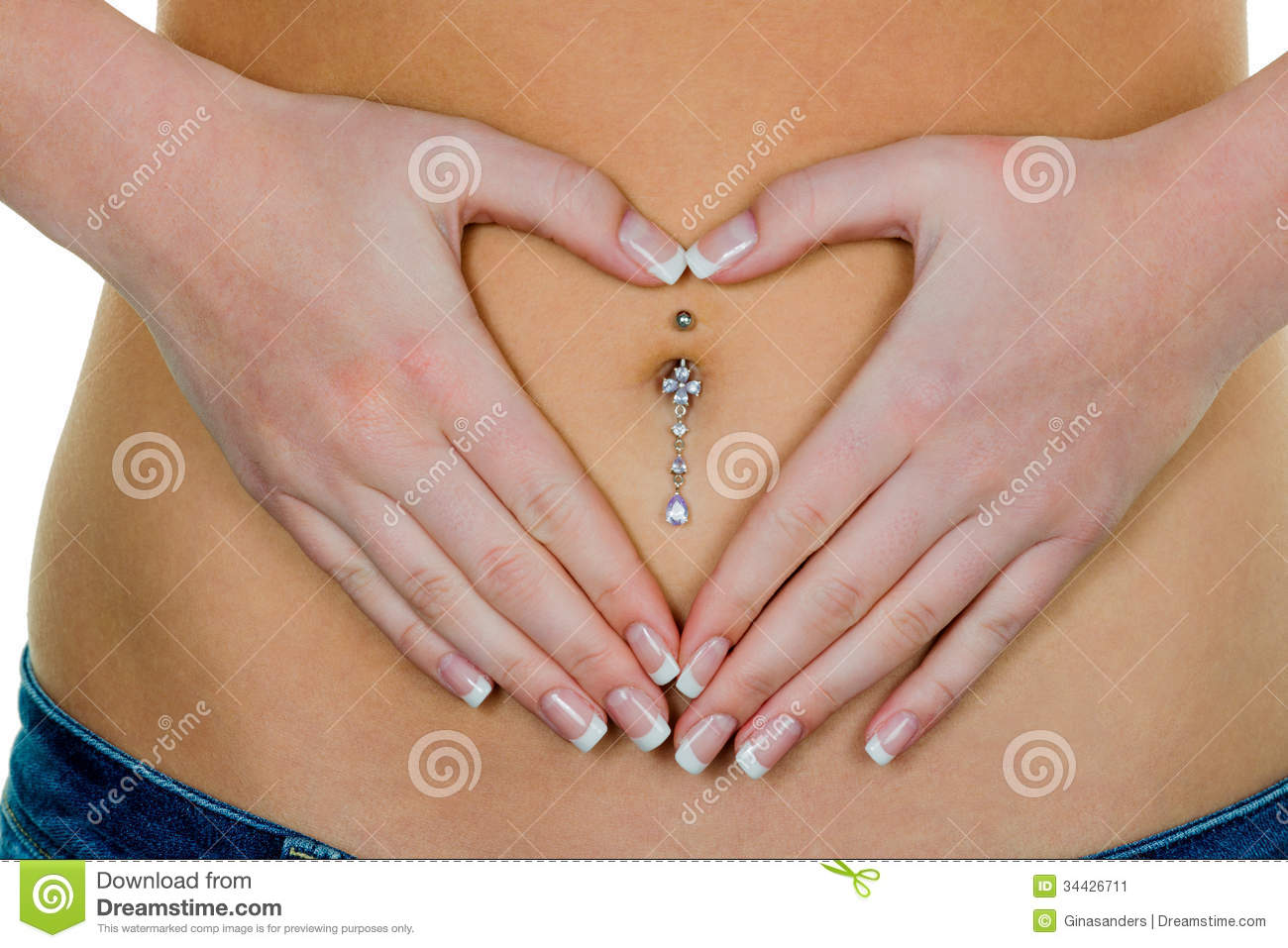 woman has abdominal pain or stomach pain. hands in heart shape ...