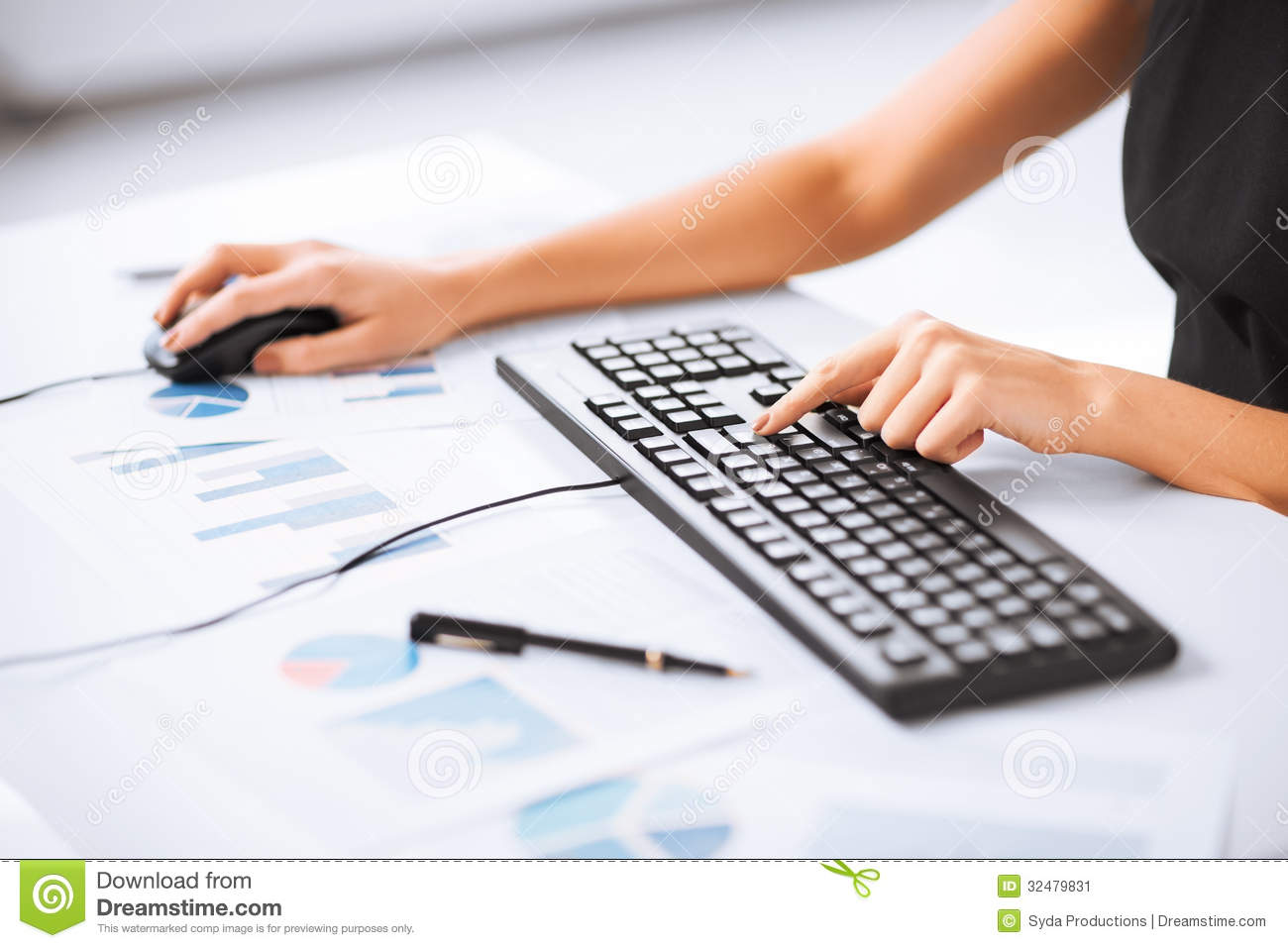 Woman Hands Typing On Keyboard Stock Image - Image of ...