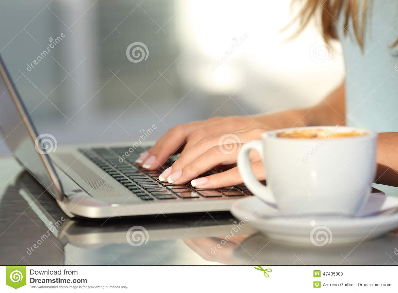 Download Woman Hands Typing In A Laptop In A Coffee Shop Stock Image - Image of background, girl: 47405809
