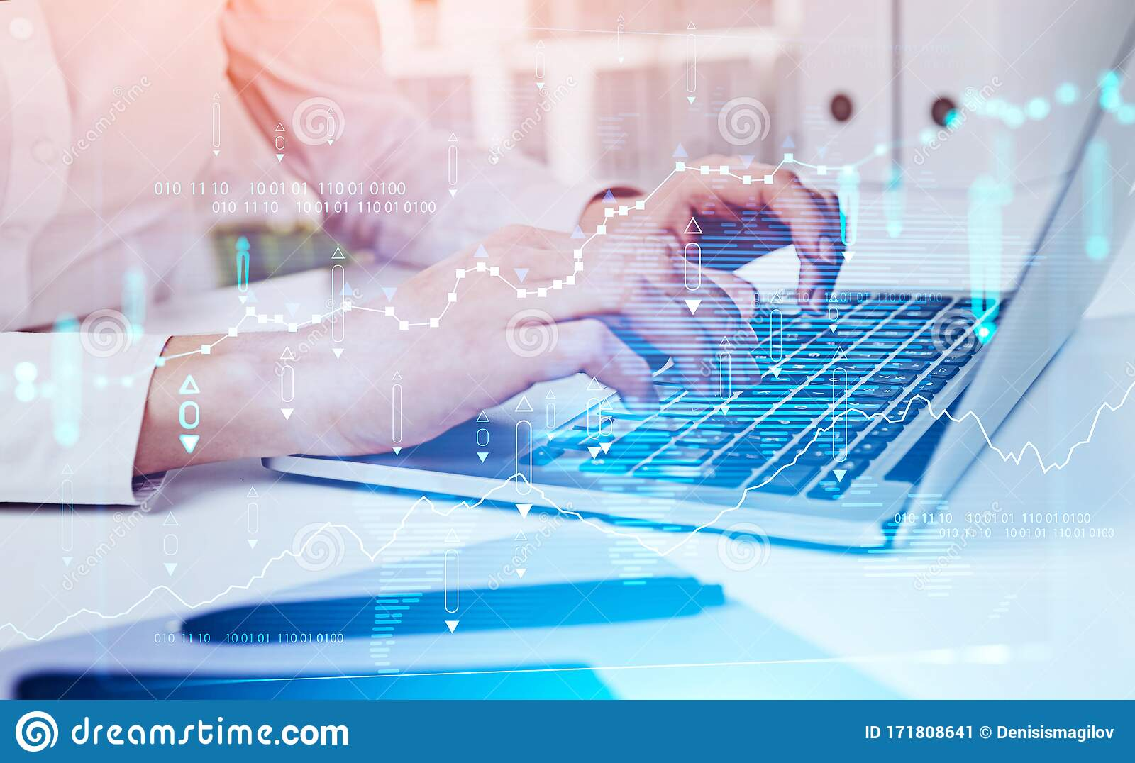 Woman Hands Typing On Laptop, Digital Chart Stock Image   Image of ...