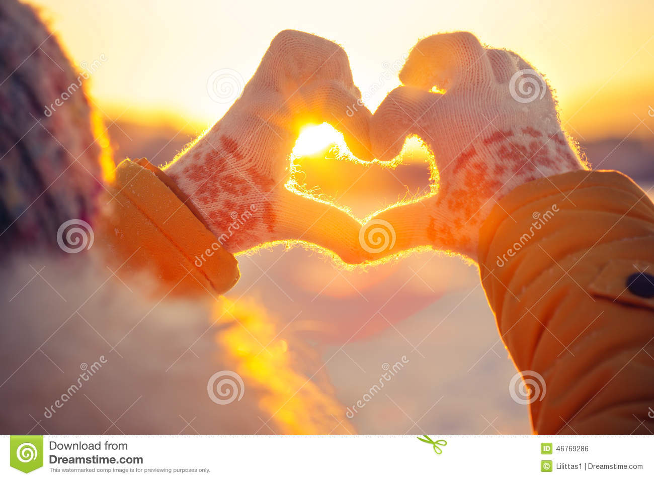 Heart stock photos download 681661 images woman hands in winter gloves heart symbol shaped lifestyle and feelings concept with sunset light buycottarizona Images
