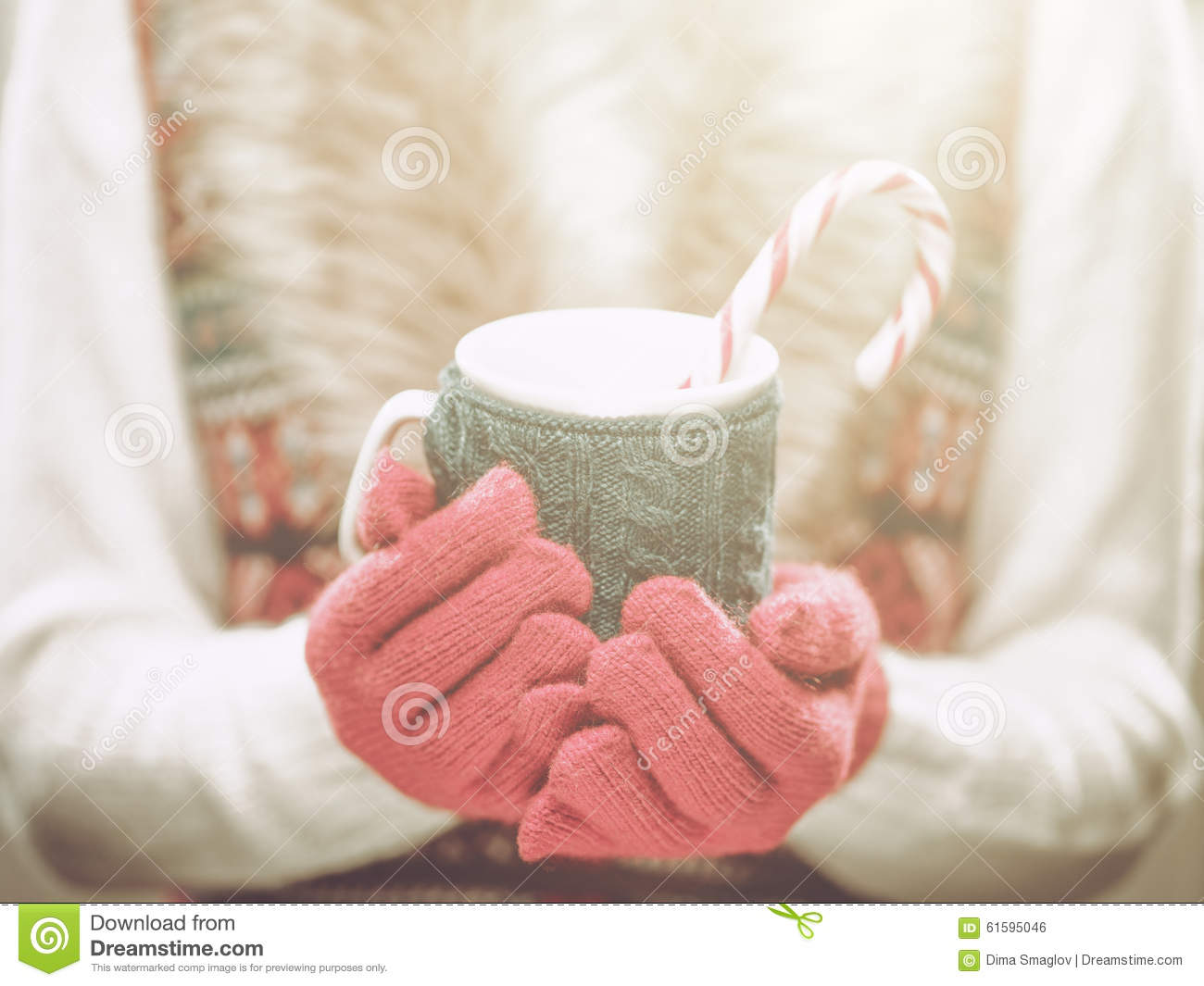 ... cocoa, tea or coffee and a candy cane. Winter and Christmas concept