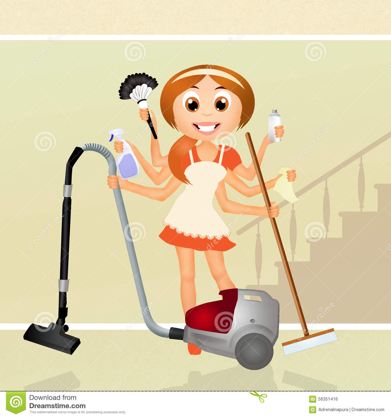 Woman Handyman Stock Illustration. Illustration Of