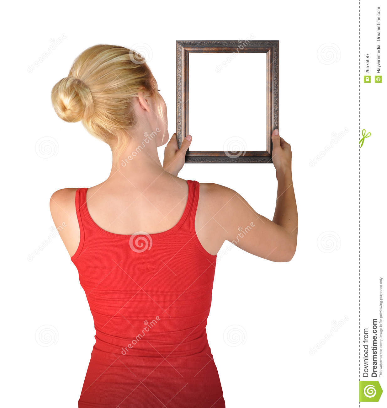 Woman Hanging Blank Art Frame Royalty Free Stock ...