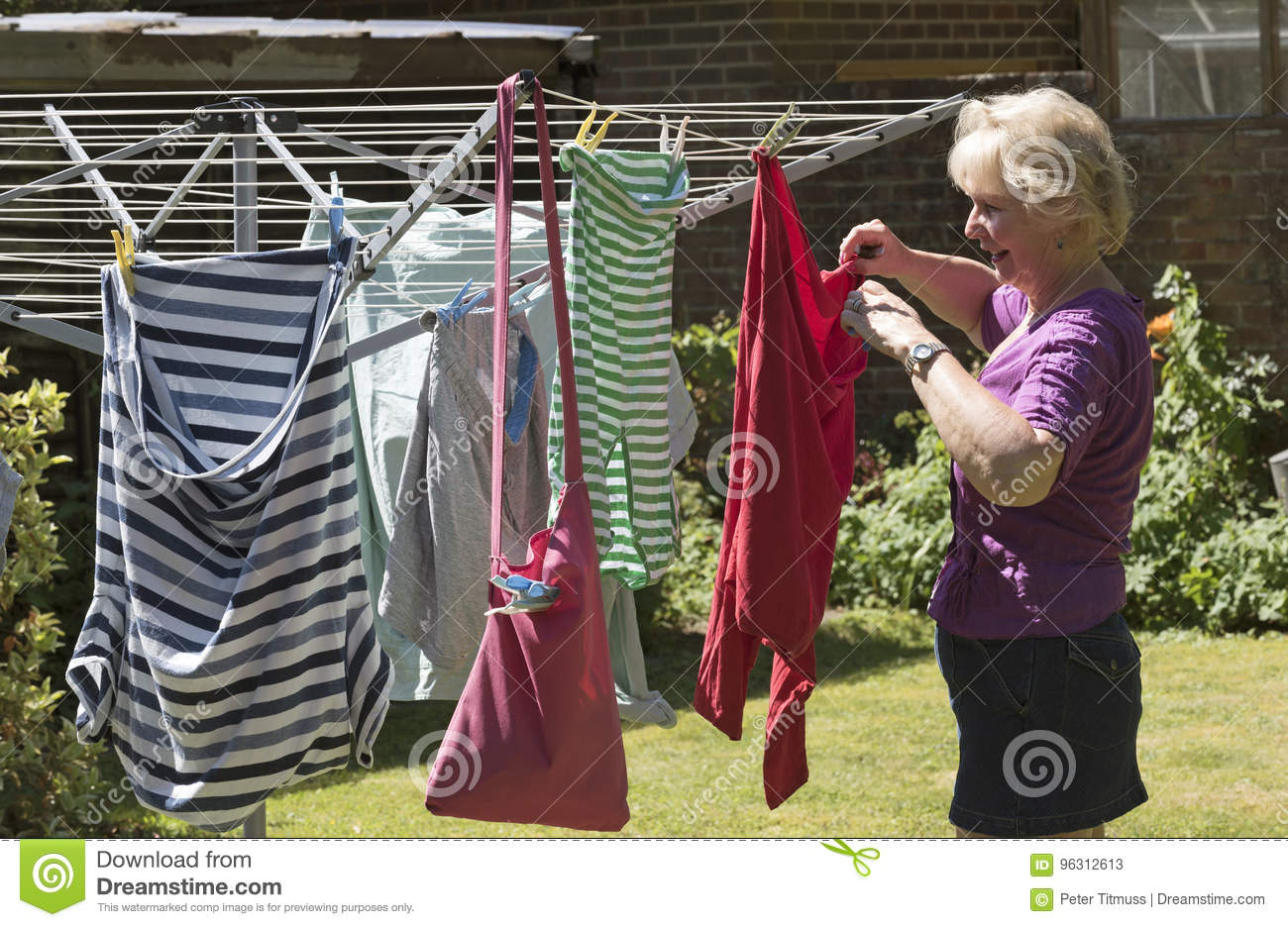 Woman Hanging Washing Out To Dry Stock Image Image Of Women