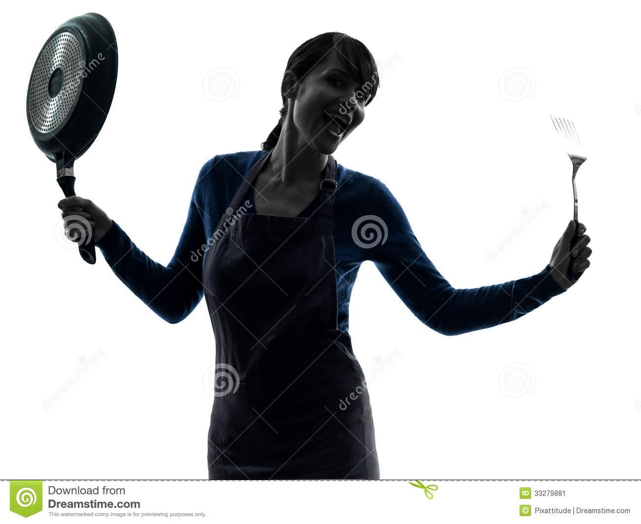 Woman Happy Cooking Holding Frying Pan Silhouette Stock ...