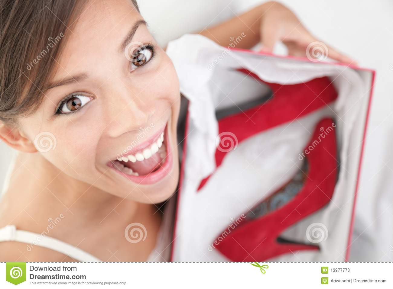 Woman happy for shoes as gift