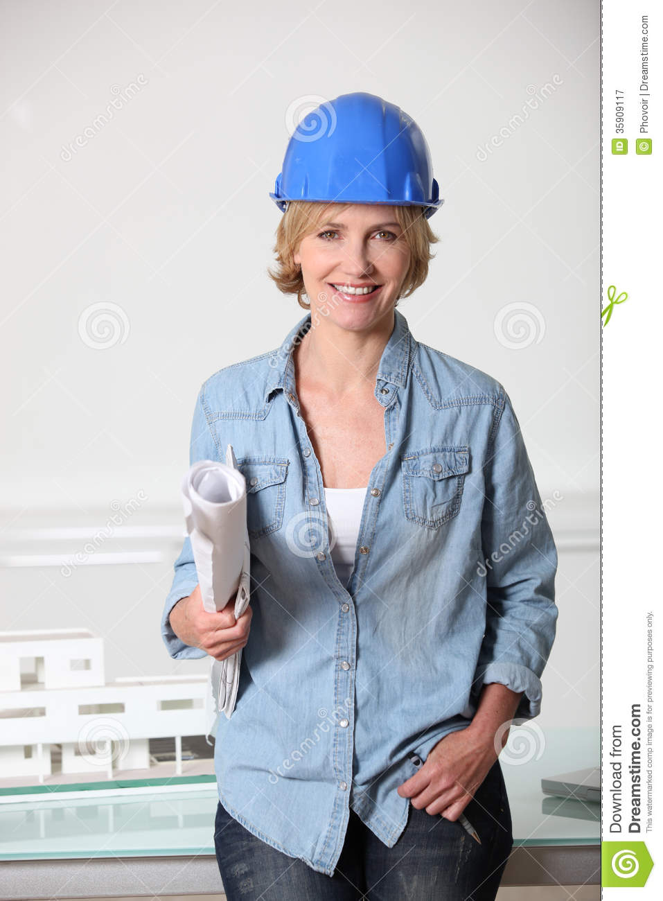 woman in hard hat stock image image of european adults 35909117