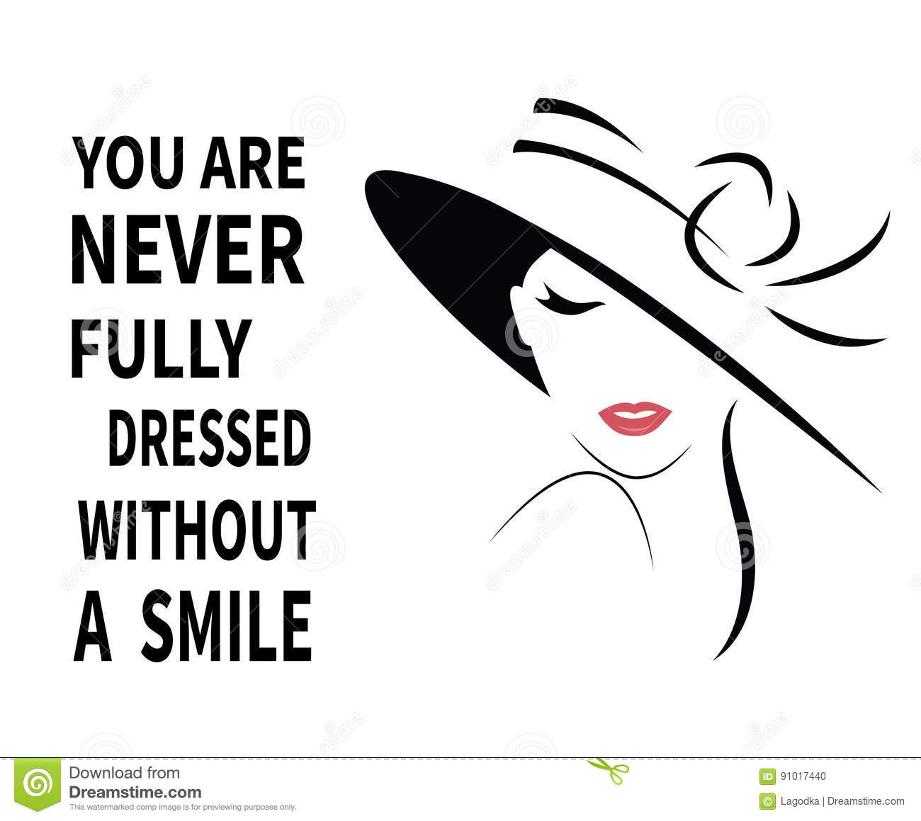Woman in hat with quote. stock vector. Illustration of line ...