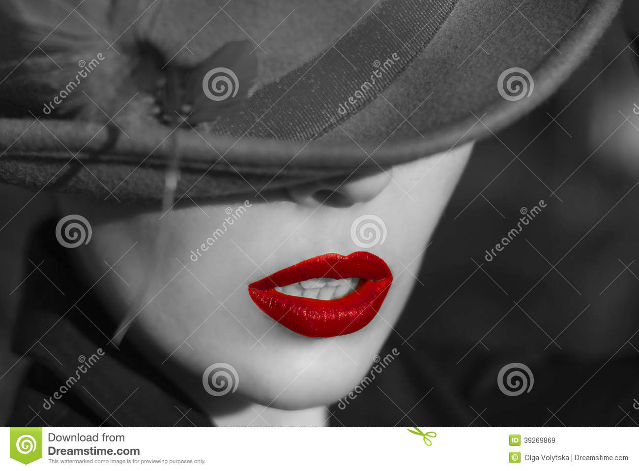 ac17dfe9d08 Woman in hat. Red lips. Fashion close-up portrait of young beautiful woman
