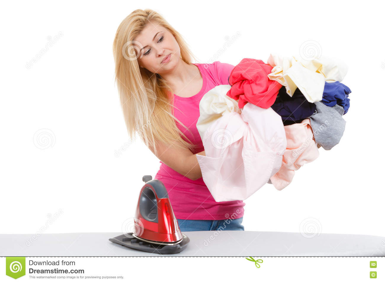 woman having creased clothes to iron stock image image of