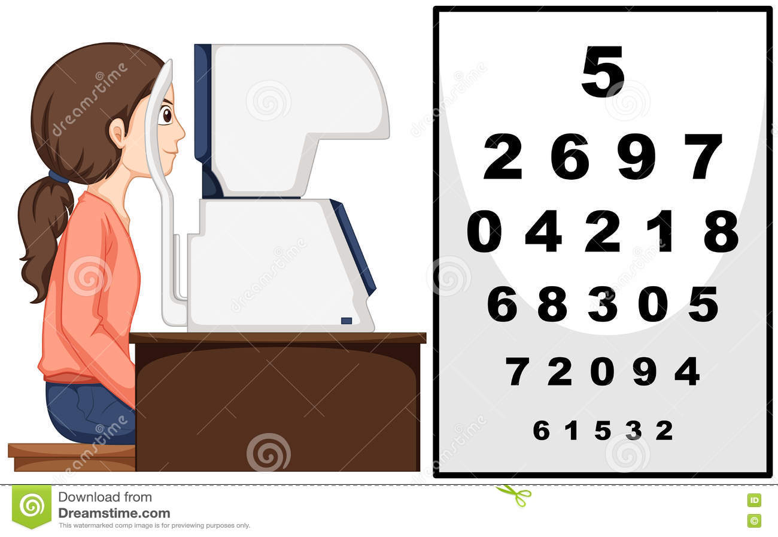 Woman having eyes exam with machine