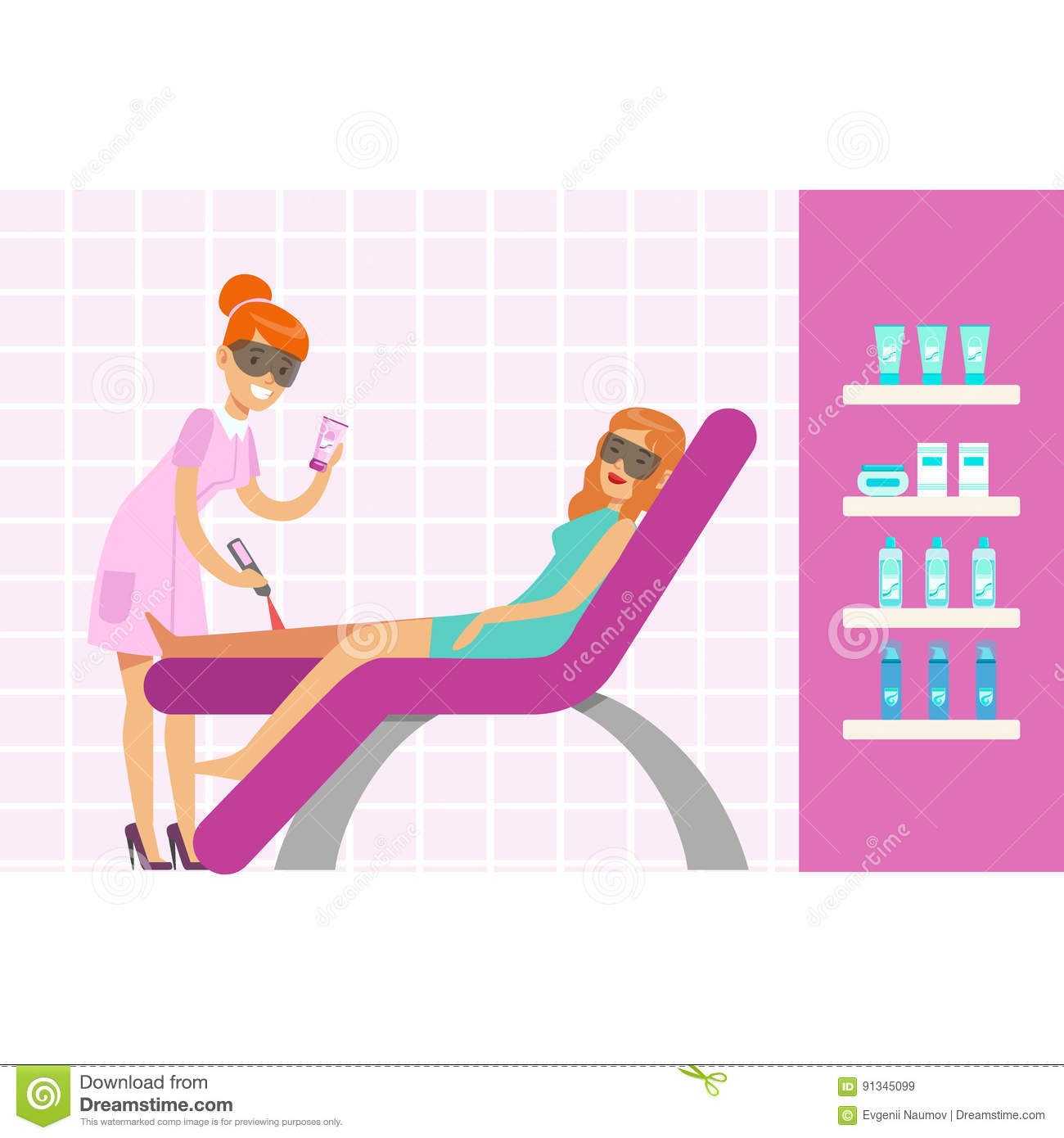 Woman Having Legs Epilation With Laser Hair Removal Equipment
