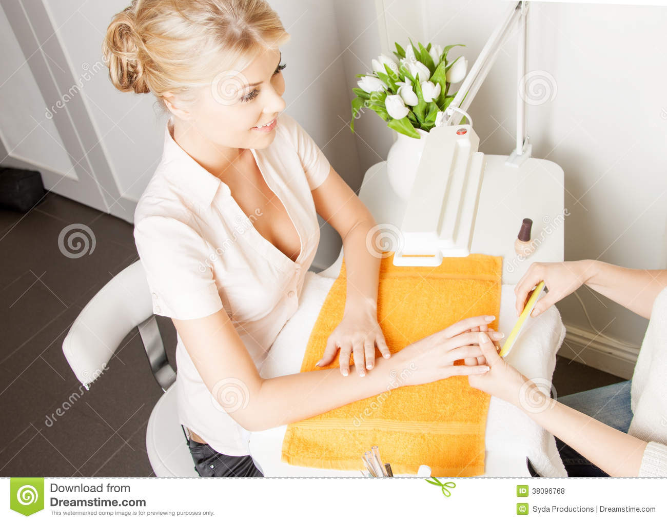 Woman Having A Manicure At The Salon Stock Photo Image 38096768