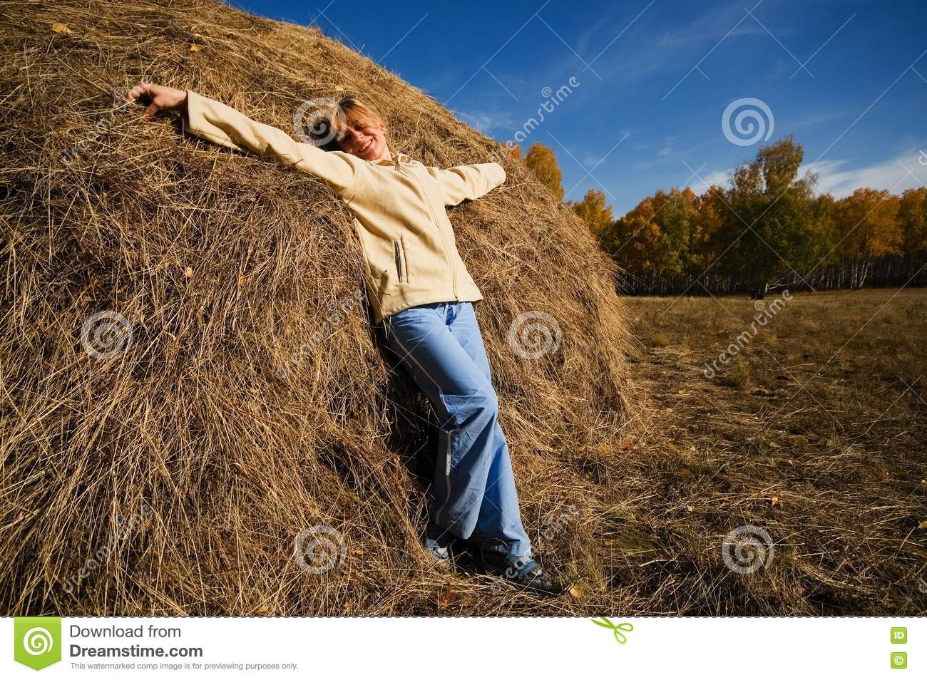 Woman on the hay