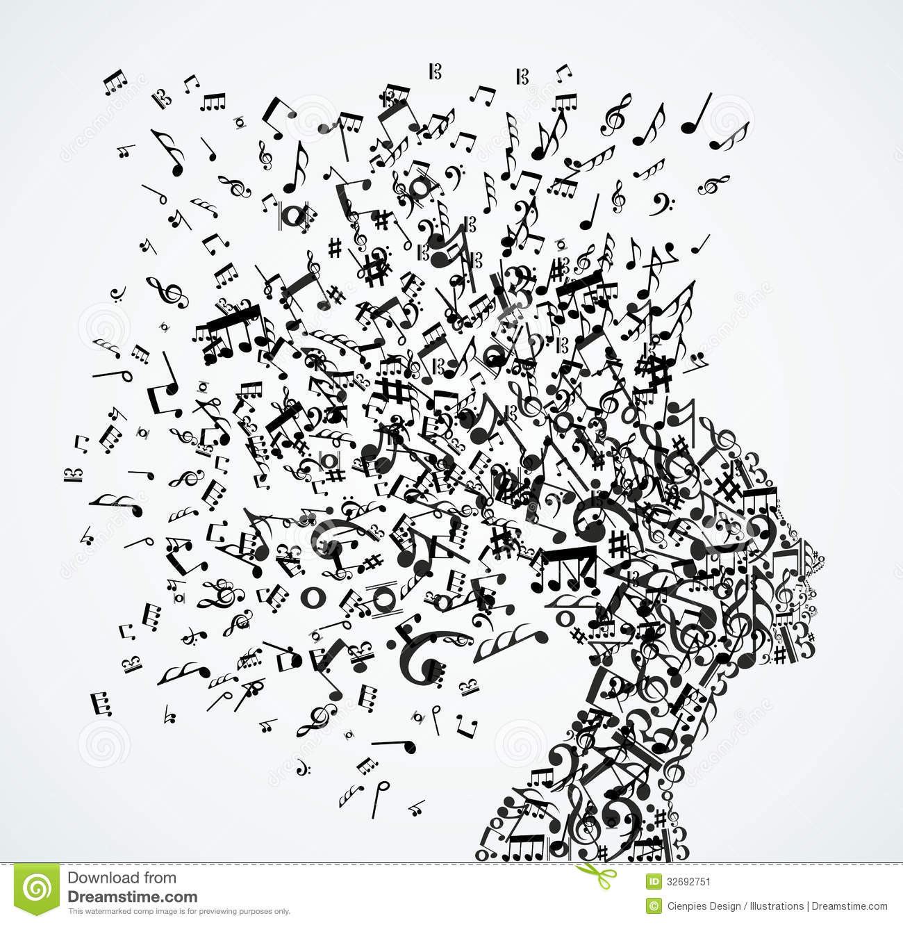Woman Head Music Notes...