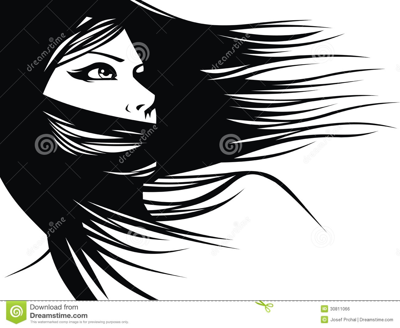 Woman head and their hair (hair stylist vector) isolated on the white ...