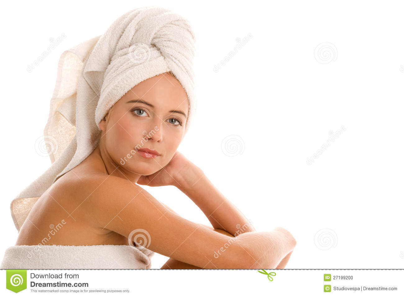 Woman With Head Wrapped Towel Stock Photo Image 27199200
