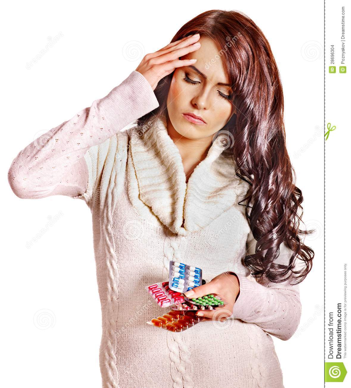 woman with headache take pills and tablets stock photo image of