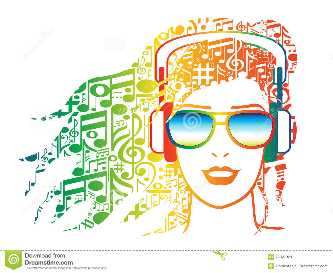 Woman With Headphones With Musical Notes For Hair Stock Photos - Image ...