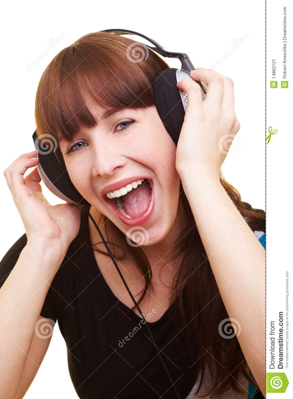 Woman with headphones screaming