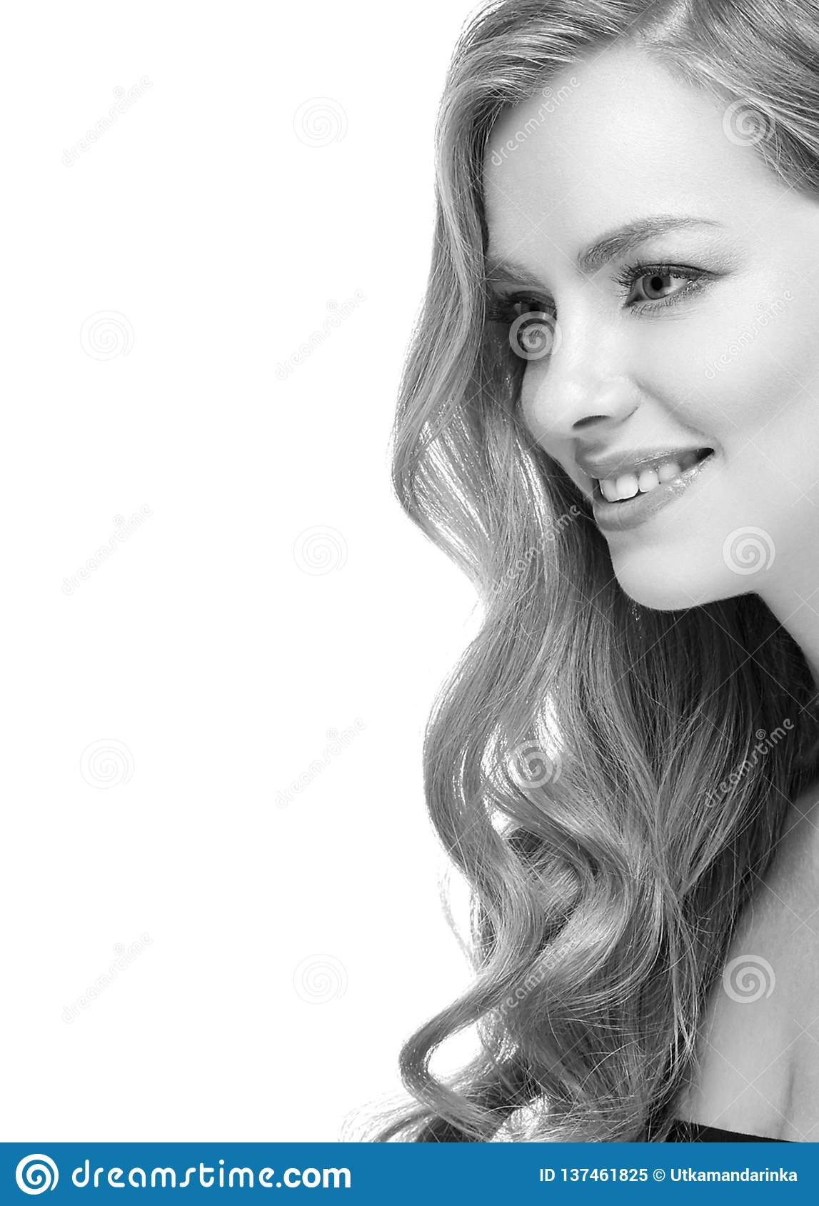 ebe0b0be4a81 Woman Headshot Face Blonde Portrait Closeup Black And White Stock ...