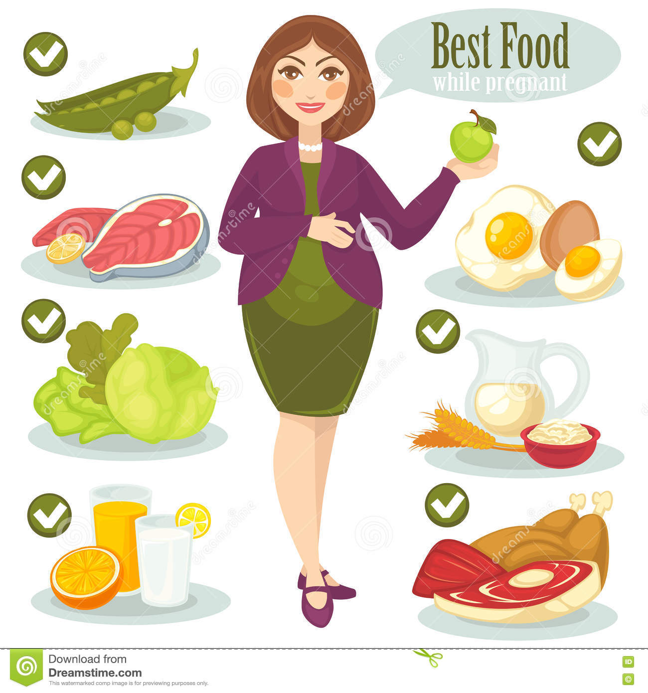 Woman healthy food for pregnant stock vector illustration of woman healthy food for pregnant kristyandbryce Images