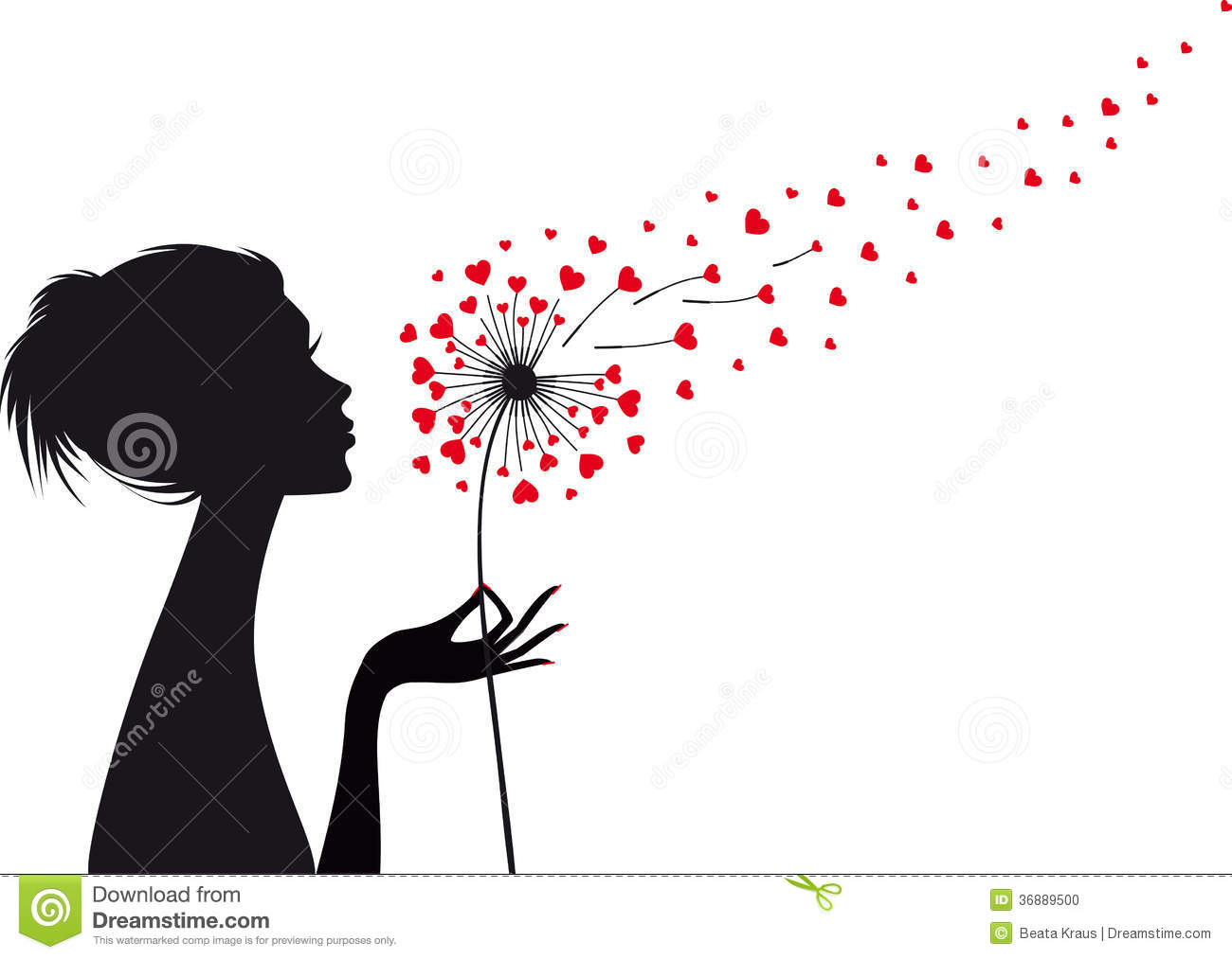 Woman With Heart Dandelion Vector Stock Photo Image