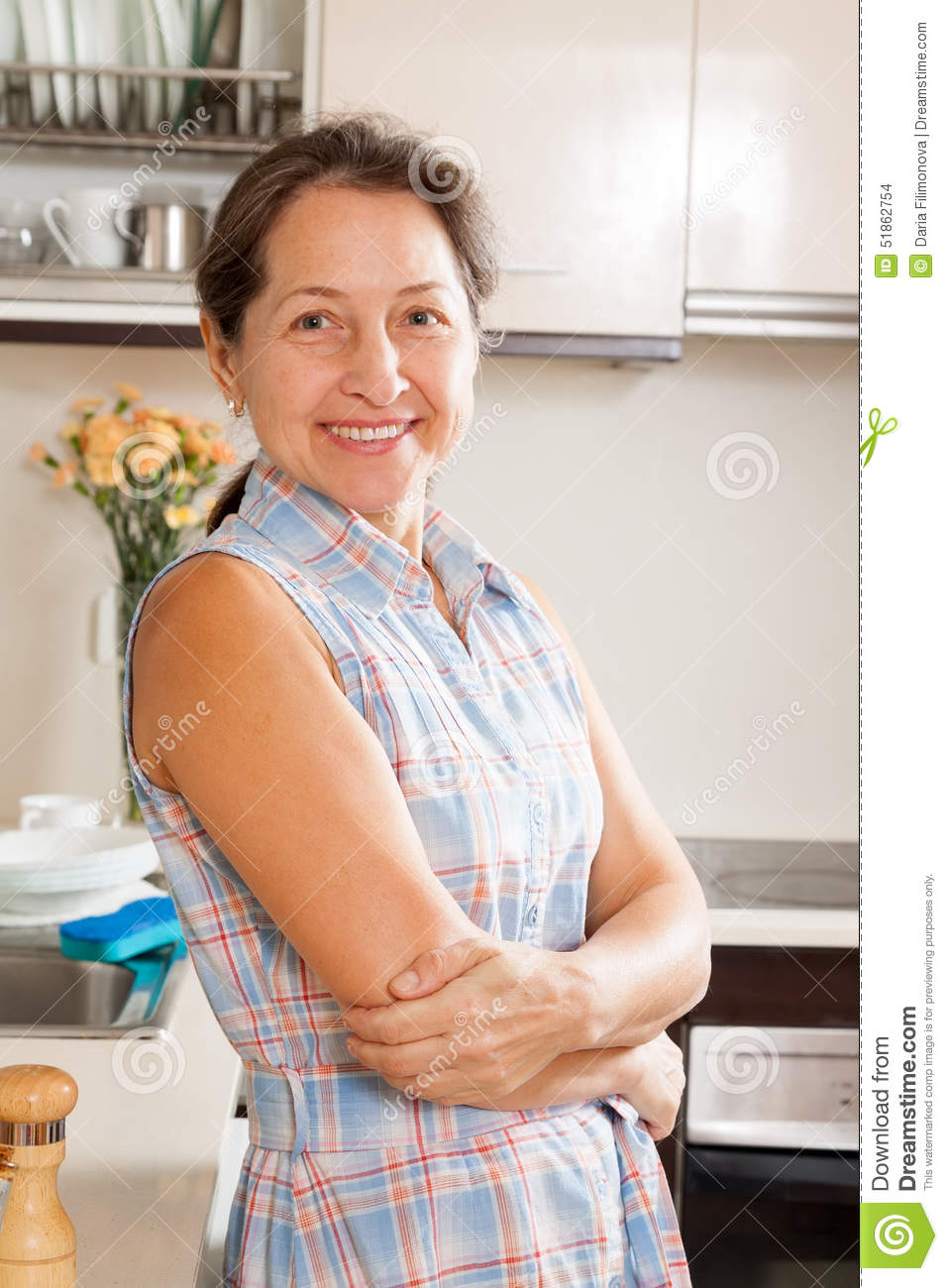 woman at her big kitchen stock photo. image of person - 51862754