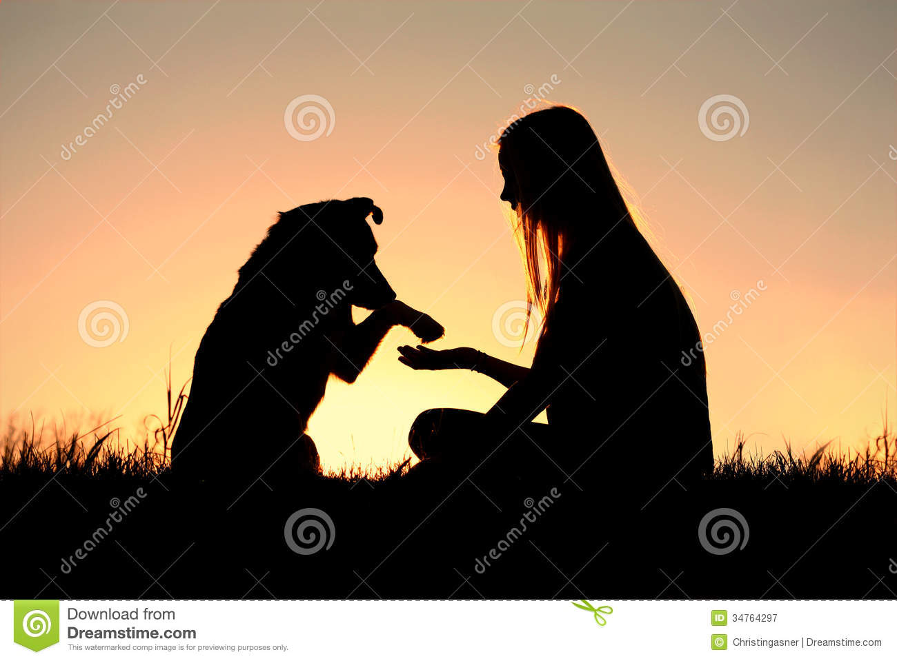 ... with her German Shepherd dog, silhouetted against the sunsetting sky