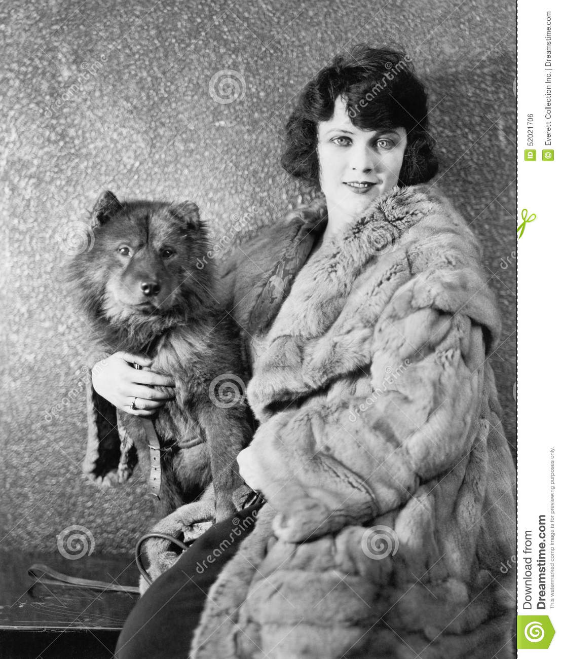 2c7193cff Woman In Her Fur Coat Sitting With Her Dog Stock Photo - Image of ...