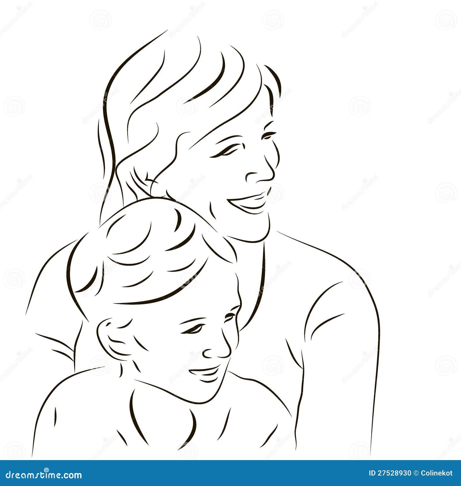 Мама с сыном нарисовать рисунок