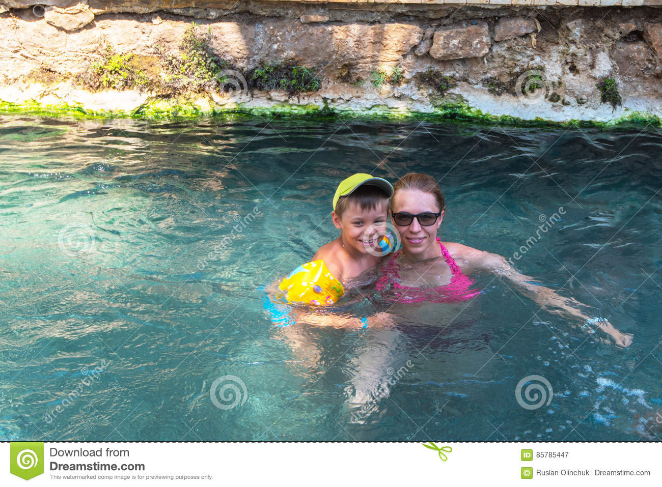 Woman And Her Son In Cleopatra Pool Stock Image - Image of bath ... 21e6419a1e