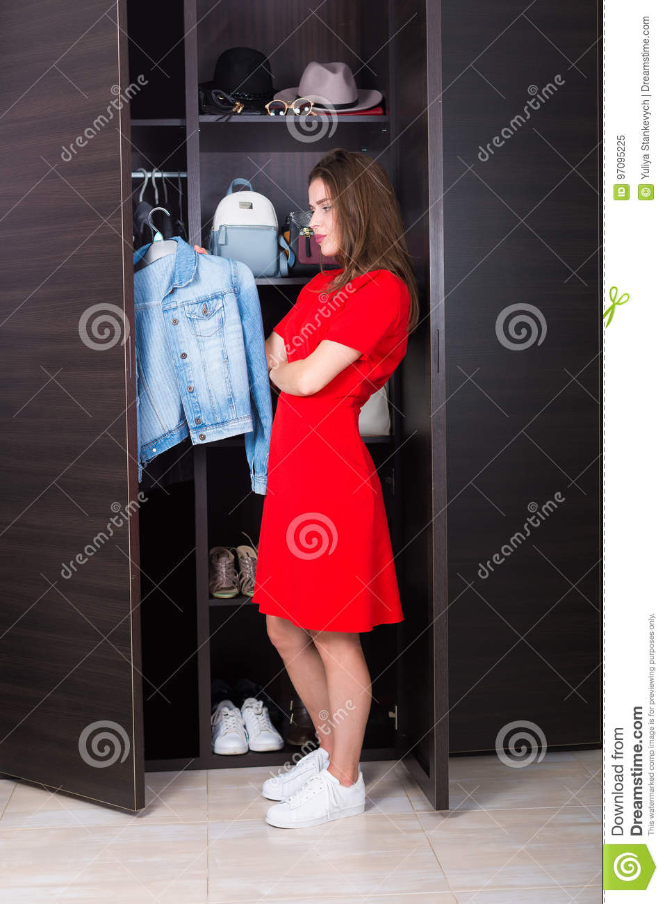 Woman and her wardrobe