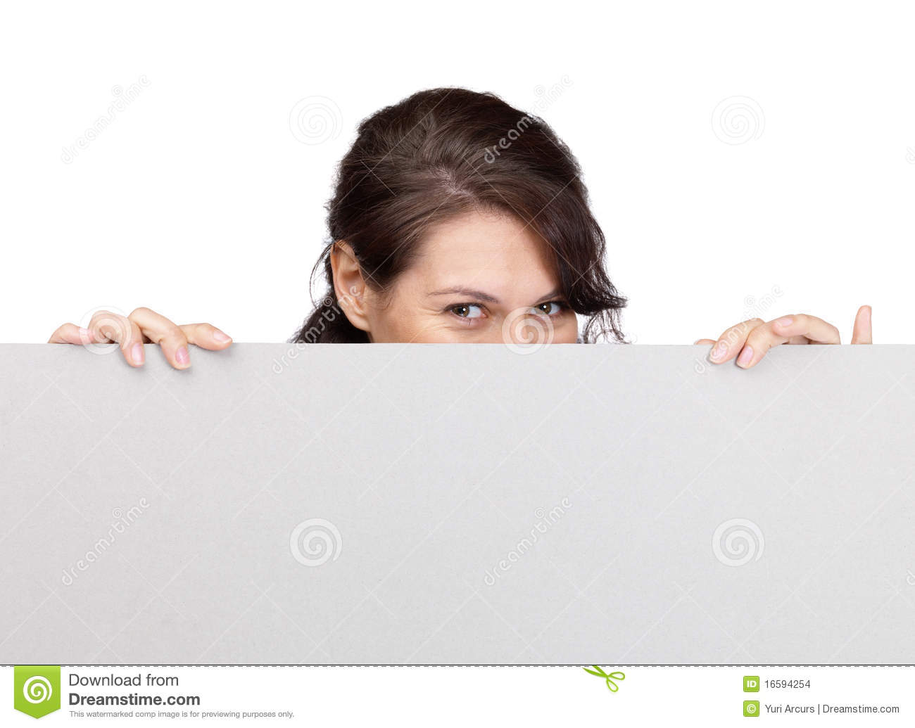 Woman Hiding Her Face Behind Blank Sheet Stock Photo