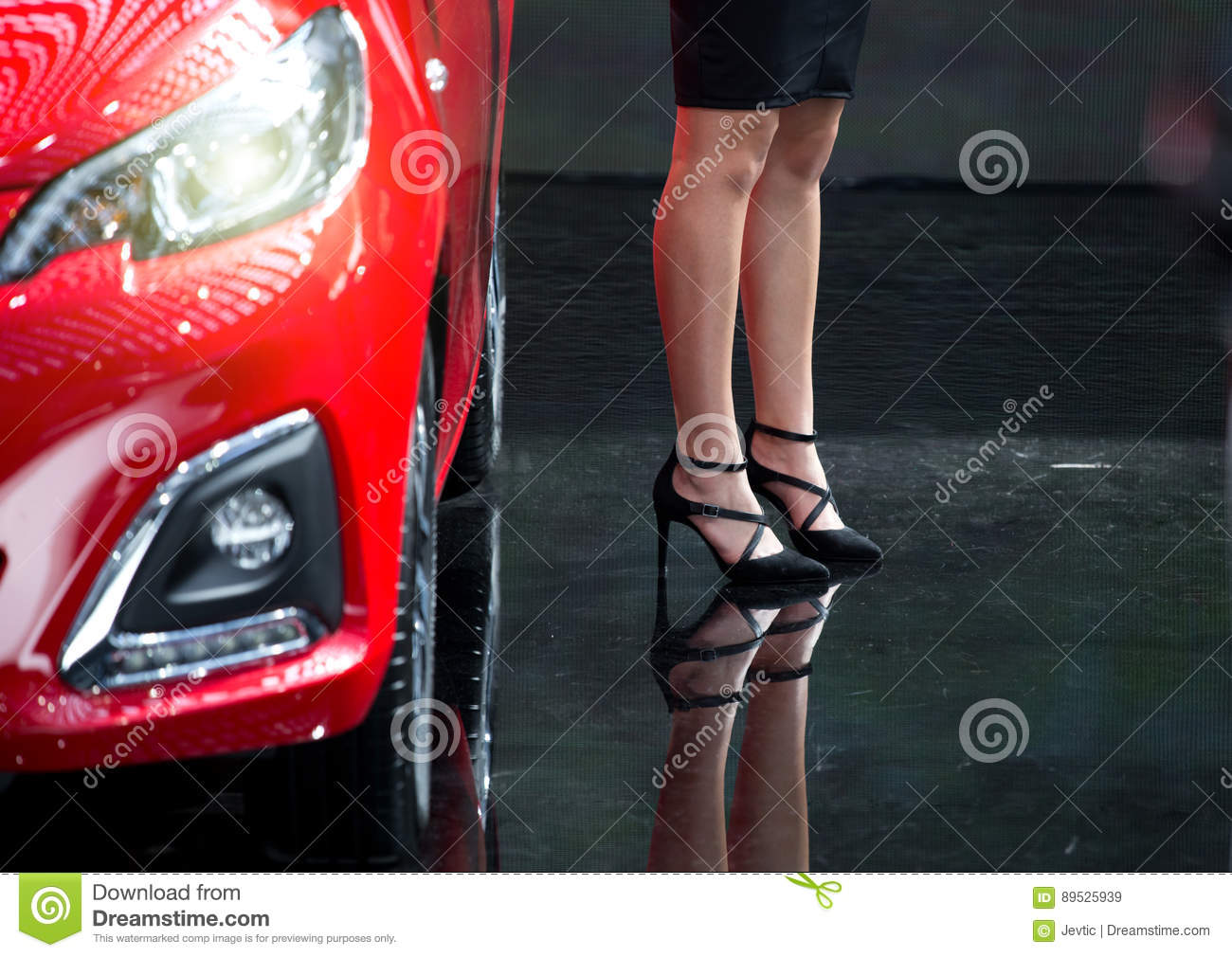 993e6b15819 Woman with high heels beside car. Legs of attractive business woman in black  skirt and