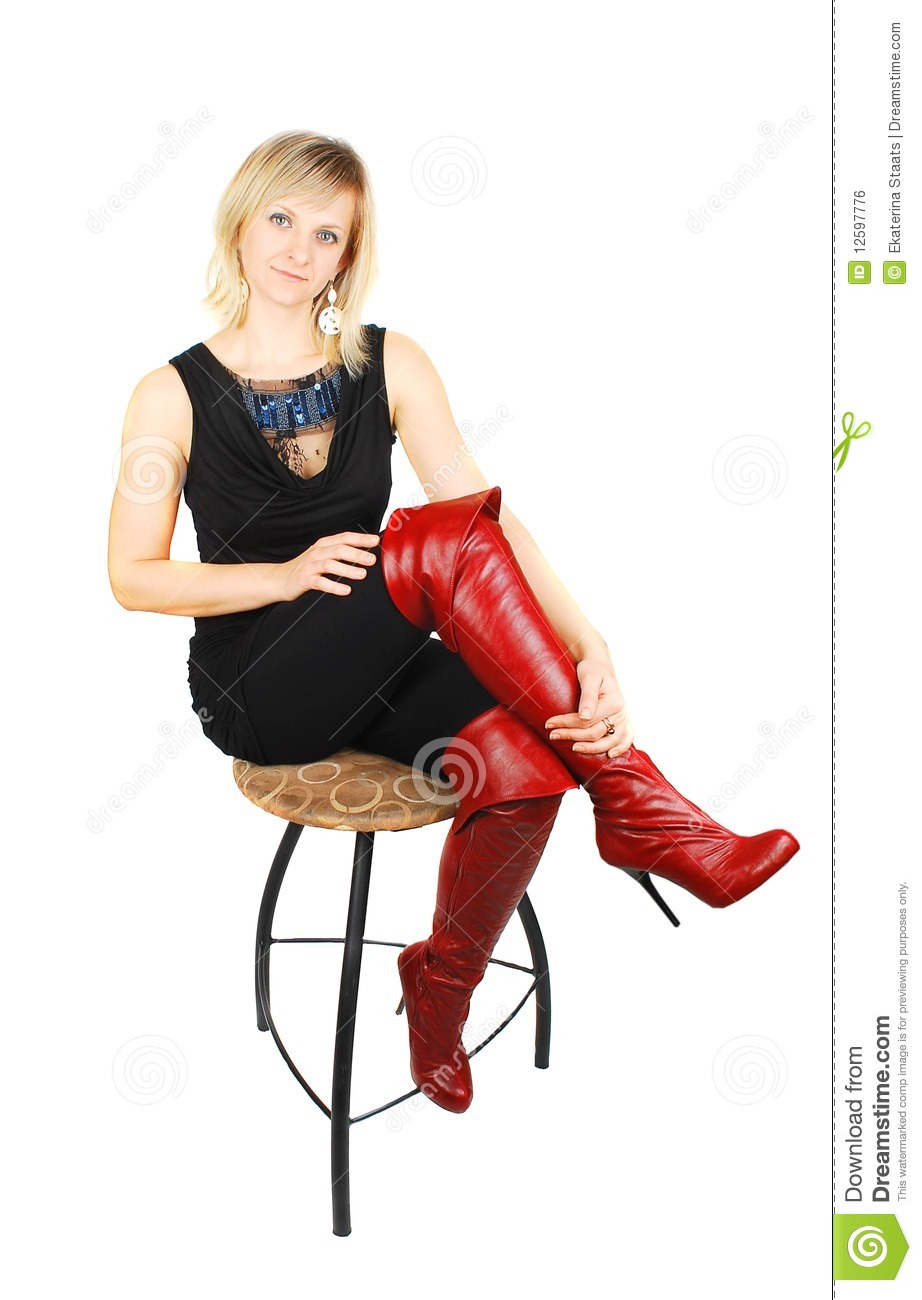 Perfect Woman Legs Wearing Black Leather High Boots Stock Photo  Image