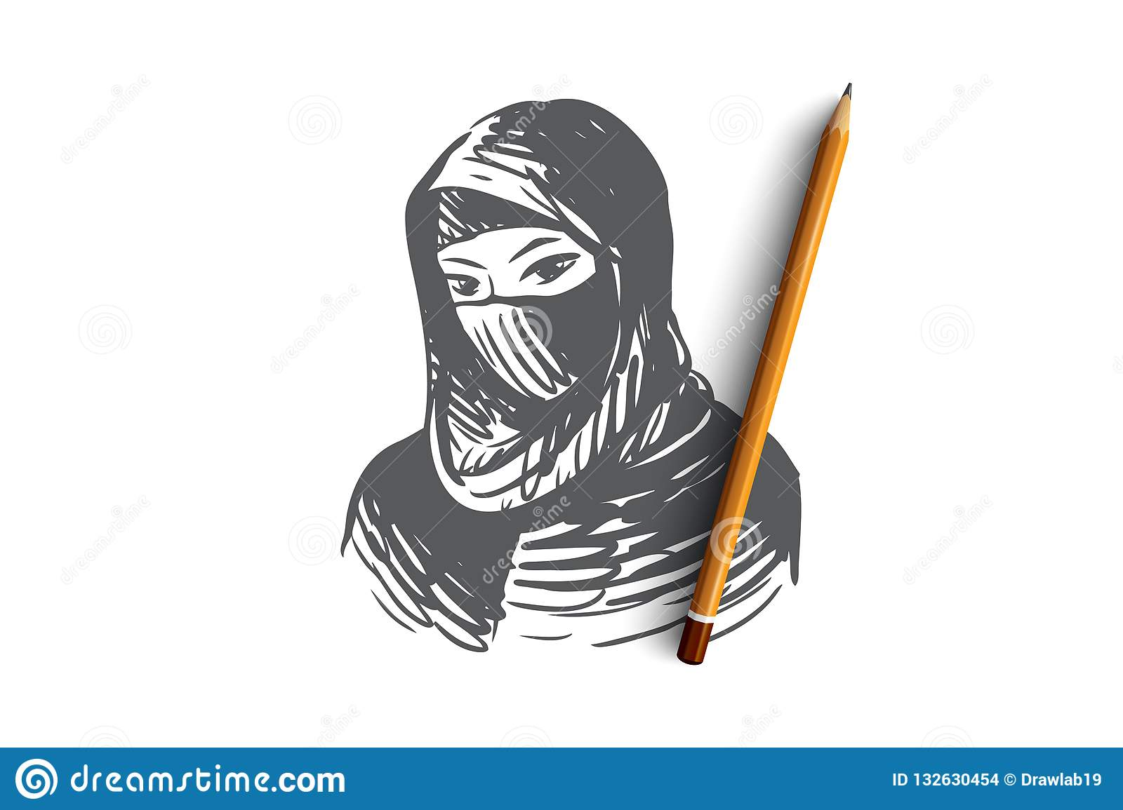 Woman hijab girl islam young concept hand drawn isolated vector