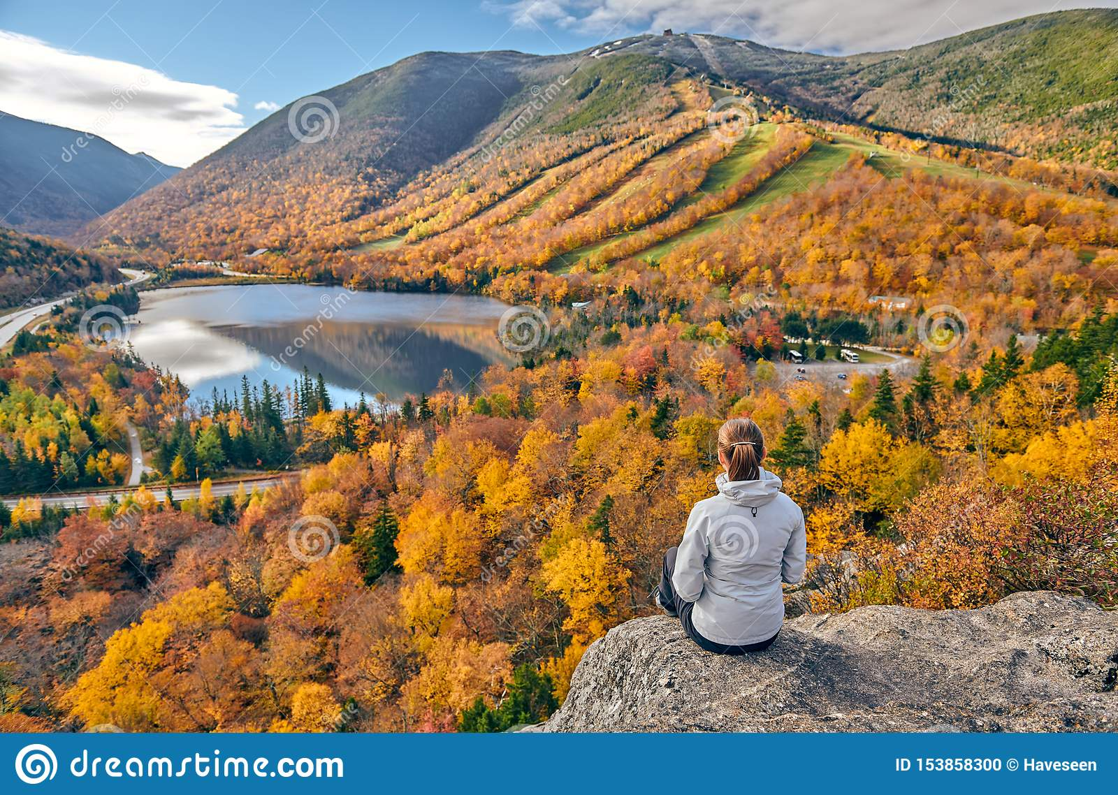Woman hiking at Artist`s Bluff in autumn
