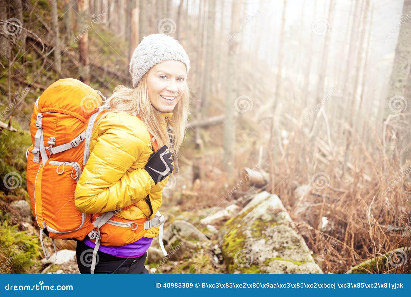 Woman Hiking Stock Image