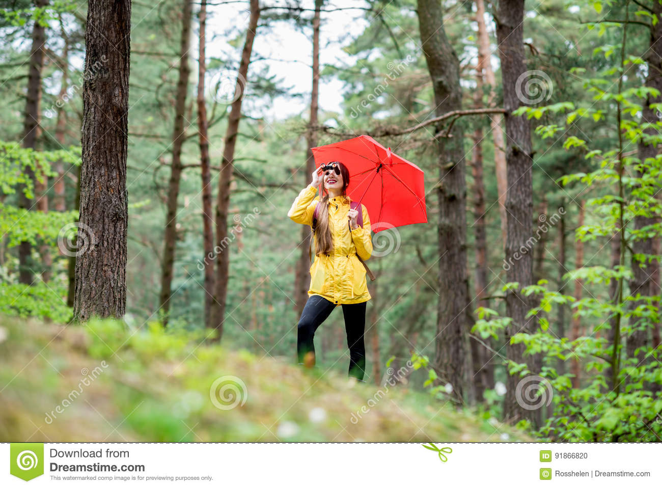 Woman Hiking In Forest With Red Backpack Stock Photo ...