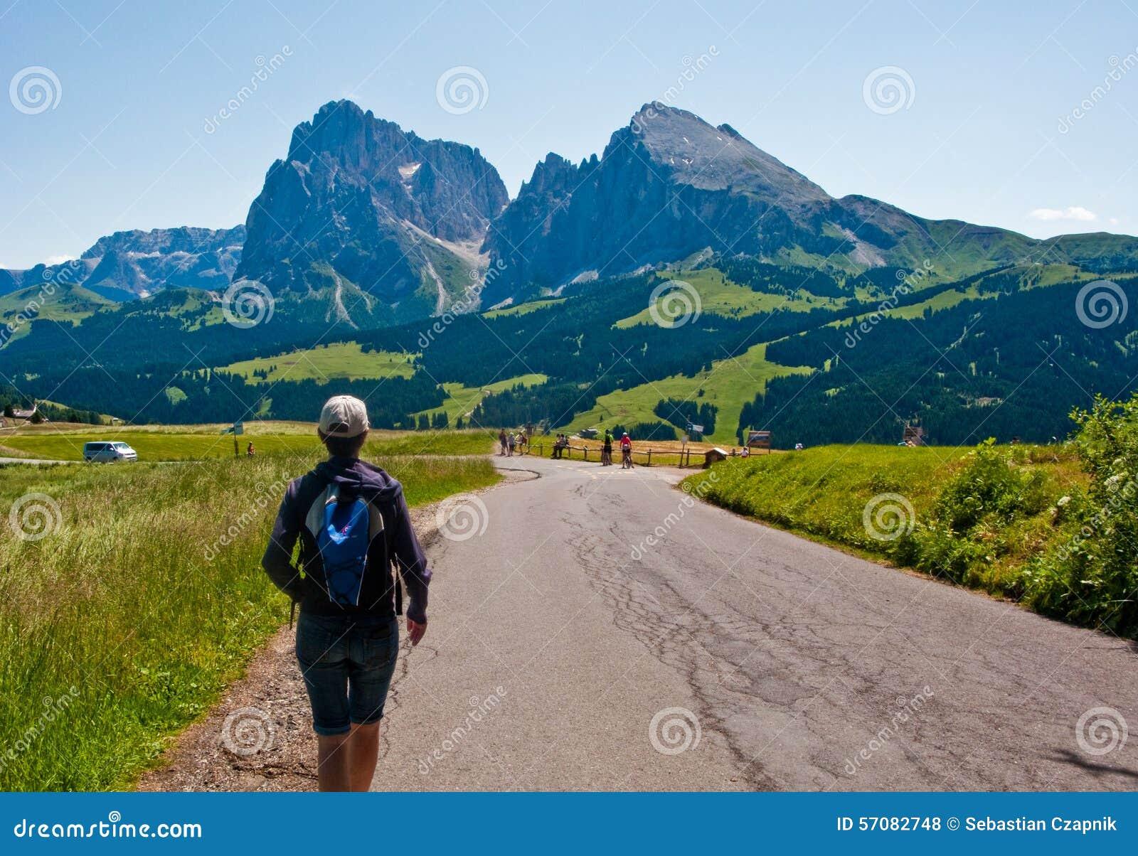 Woman hiking in Italian Alps