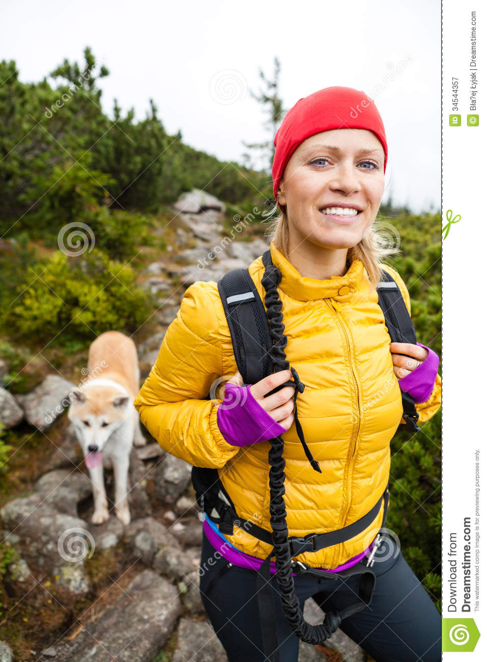 Woman Hiker Walking Down The Mountain Stock Footage Video | Getty ...