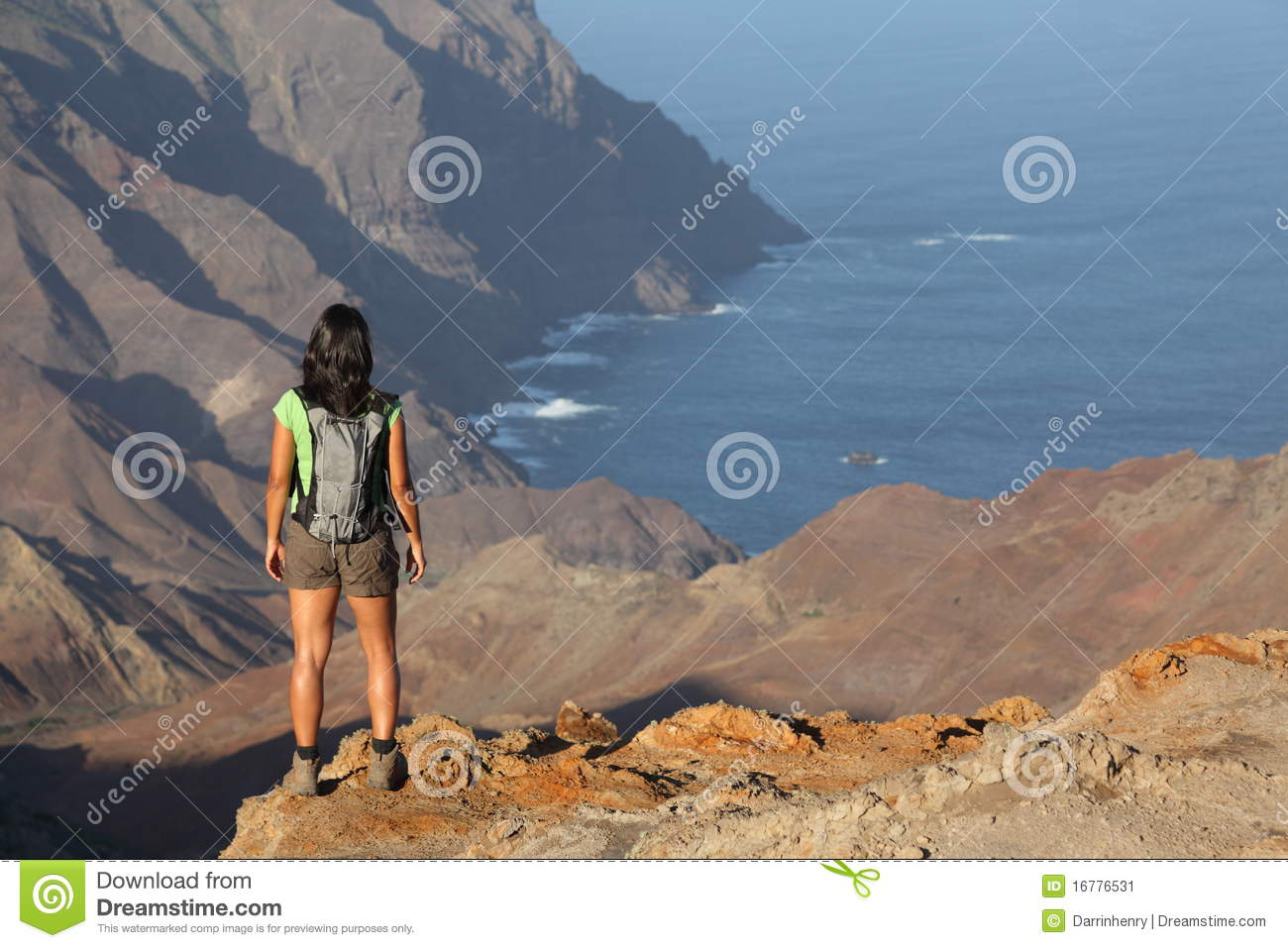 Download Woman Hiking On Top Volcanic Craters On St Helena Stock Image - Image of back, rucksack: 16776531