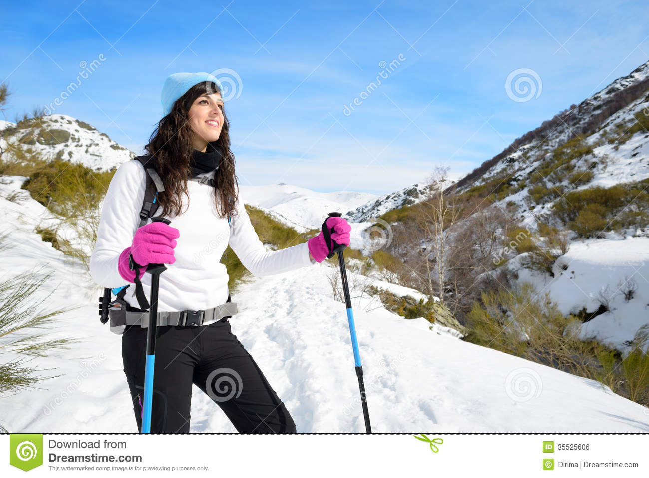Woman Hiking Trip On Winter Mountain. Beautiful Sporty Hiker ...