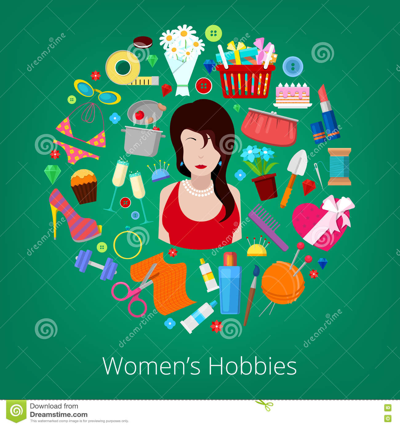Woman Hobby Elements Set with Flowers, Cooking, Cosmetics and Fashion Elements
